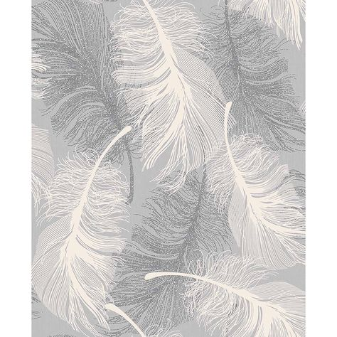 Advantage Hurston Grey Feather Wallpaper, Gray
