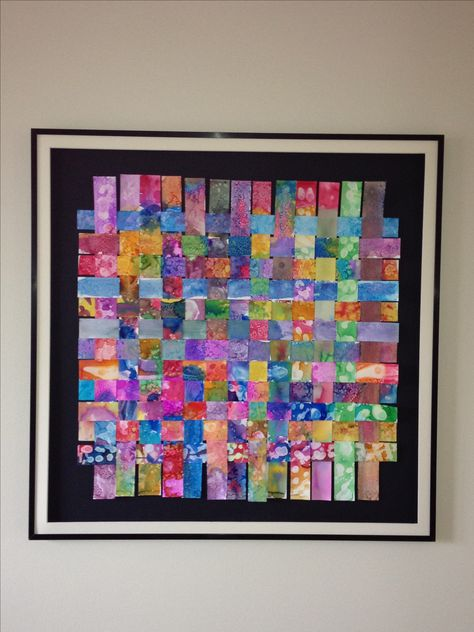 "Found on Pinterest: Class Auction Project  ""Woven Friendships""   This one of a kind watercolor masterpiece was created  by all 25 5th graders!  Each student applied different watercolor techniques to their individual strip. The strips were then woven tight together - just like their friendships - to form this beautiful piece of art!"