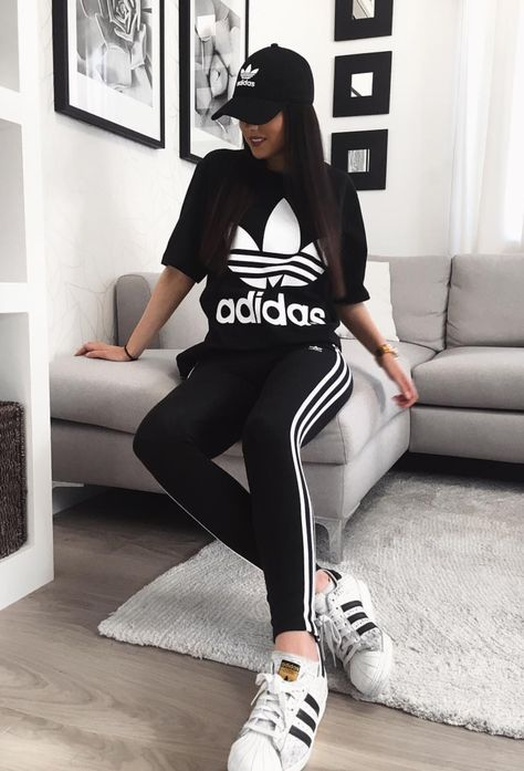Cute Adidas Outfits For Women | Black Adidas T Shirt, Black