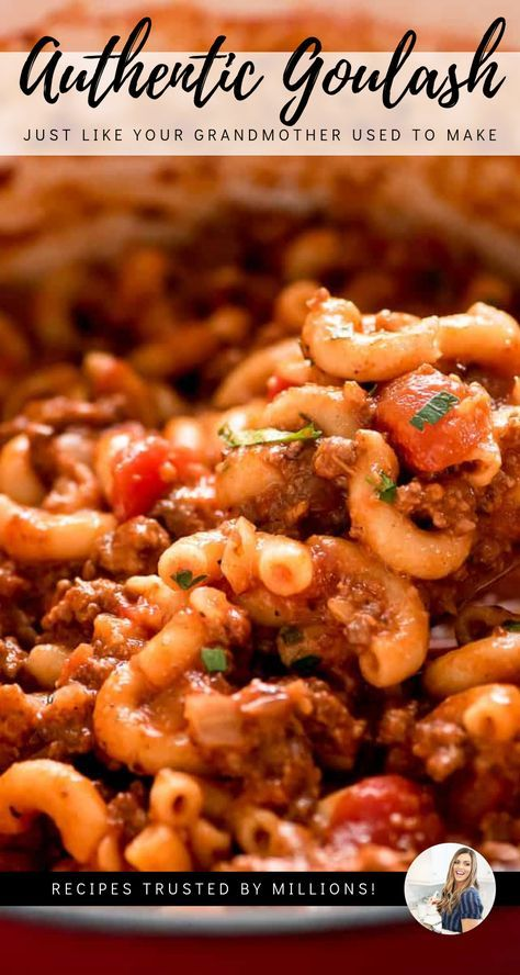 Authentic Goulash like grandma made! easy old-fashioned comforting meal that is perfect for any night of the week! Authentic Goulash like grandma made! easy old-fashioned comforting meal that is perfect for any night of the week! Easy Goulash Recipes, Crockpot Recipes, Cooking Recipes, Healthy Recipes, Recipe For Goulash, Cooking 101, Easy Recipes, Dinner Casserole Recipes, Casserole Dishes