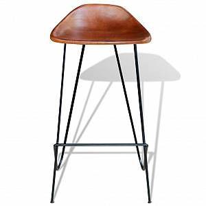 Vidaxl Chaises De Bar 4 Pcs Marron Cuir Veritable Chaise Bar Chaise Cuir Chaise