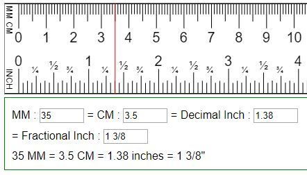 Convert Mm Cm To Fraction Or Decimal Inches In Mm Cm Cm To Inches Conversion Ruler Measurements Metric Conversion Chart
