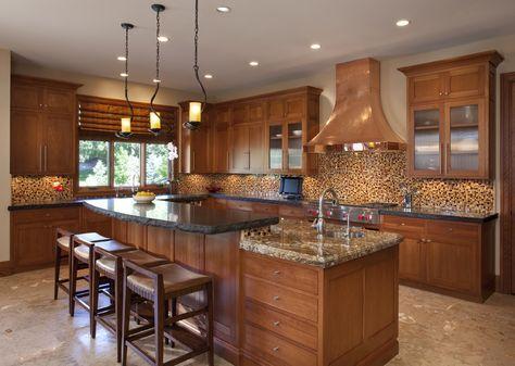 Kitchen Accessories, Copper Kitchen Island And Rangehood Design Idea ...
