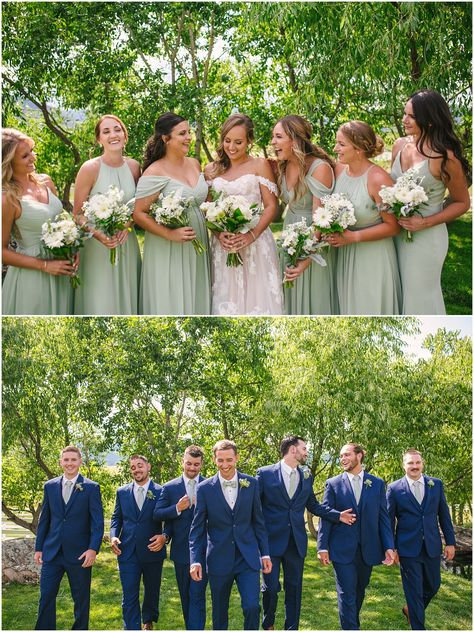 Romantic Crooked Willow Farms wedding photos by Colorado Springs wedding photographer DBK Photography. Earth tone colors in homage to the Rocky Mountains. Sage Bridesmaid Dresses, Bridesmaids And Groomsmen, Wedding Bridesmaids, Navy Suits Groomsmen, Cowboy Groomsmen, Country Groomsmen, Green Bridesmaids, Groomsmen Boutonniere, Dream Wedding