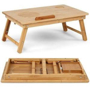 Table De Lit En Bambou Inclinable Pliable Tablette Support