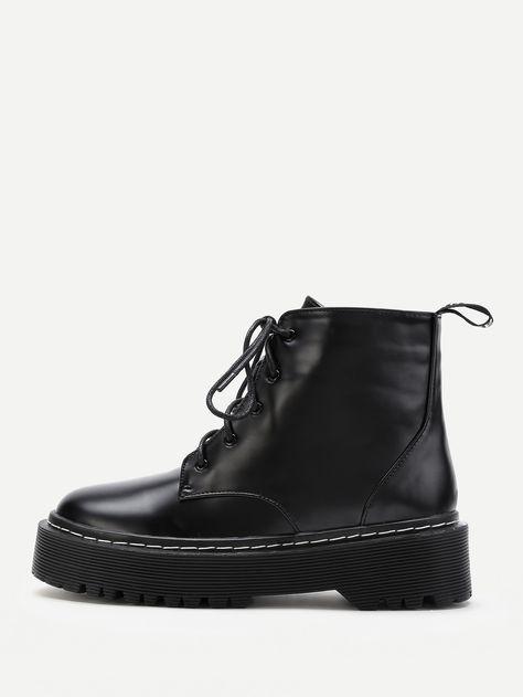 147ed4abbf PU Lace Up Rubber Sole Short Boots -SheIn(Sheinside) | Women's Shoes ...