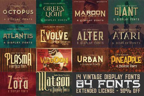 84 Display Fonts For 9 Vintage Display Vintage Fonts Retro Font