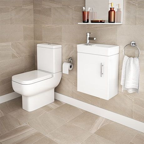 Minimalist Compact Wall Hung Vanity Unit With Series 600 Close Coupled Toilet At Victorian Plumbing Uk Wall Hung Vanity Vanity Units Basin Vanity Unit