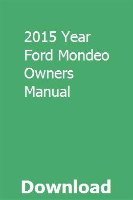 2015 Year Ford Mondeo Owners Manual Repair Manuals Owners Manuals Chilton Repair Manual