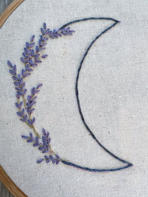 Lavender and Wildflower Moons 2 for 1 Hand Embroidery PDF Pattern - Nursery Decor - Digital Pattern - Moon - DIY Nursery - Baby Shower Gift Simple Embroidery Designs, Embroidery Stitches Tutorial, Embroidery On Clothes, Embroidery Flowers Pattern, Hand Embroidery Stitches, Embroidery Hoop Art, Beginner Embroidery, Hand Stitching, Back Stitch Embroidery