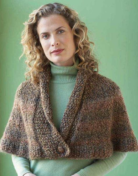 Cozy Cover-Ups - Lion Brand Homespun is featured in 6 cozy fashions to crochet and knit. The 4 crochet designs are the Perfect Pocketed Shawl, the Painted Shawl, the Santa Fe Wrap, and the Belle Scarf. The 2 knitted designs are the Library Capelet and the Shaded Triangles Wrap. Skill levels range from beginner to easy.   Made in a New Hampshire mill that runs on hydro-generated power, Lion Brand Homespun has long been a favorite of knitters and crocheters. Lovely, lofty, and quick to knit or cro