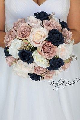 Rose Gold And Navy Blue Wedding Flower Brides Bouquet Wedding