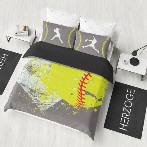 Softball Bedding Set Gray Series Softball Bedroom Softball Room Softball