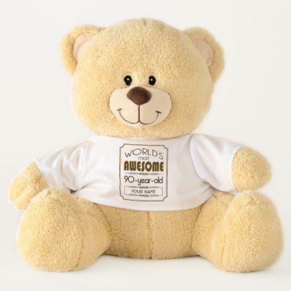 HAPPY BIRTHDAY 90 NEW Cute Soft Cuddly Teddy Bear Gift Present Birthday 90th
