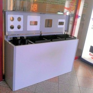Abfallstation KBZSG offen, Recyclingbehälter, Wertstoffgehälter, Abfalltrennsystem, Abfalltrennung KBZSG