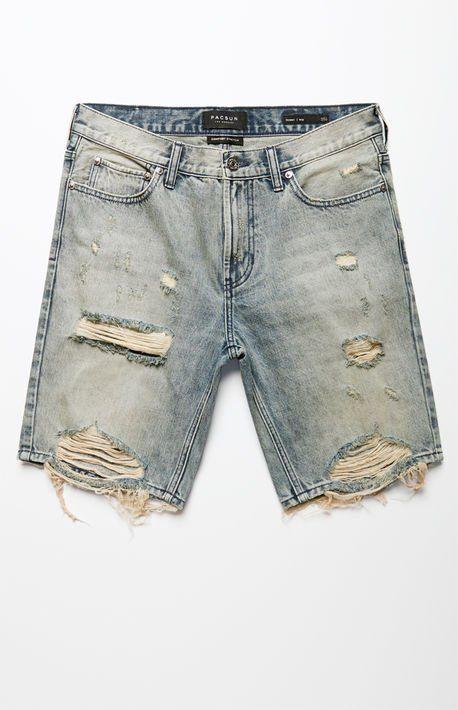 Skinny Destroy Medium Denim Shorts | Mens denim shorts, Denim shorts, Mens  shorts outfits