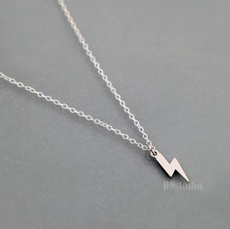 Lightning Bolt pendant unisex necklace with rope unisex cadena
