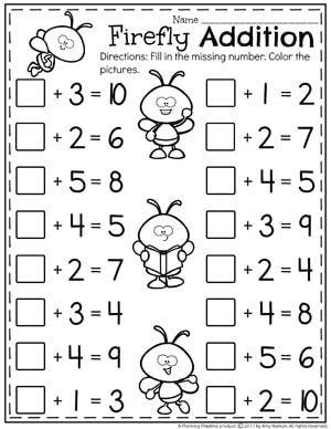 Kindergarten Math Addition And Subtraction Worksheet