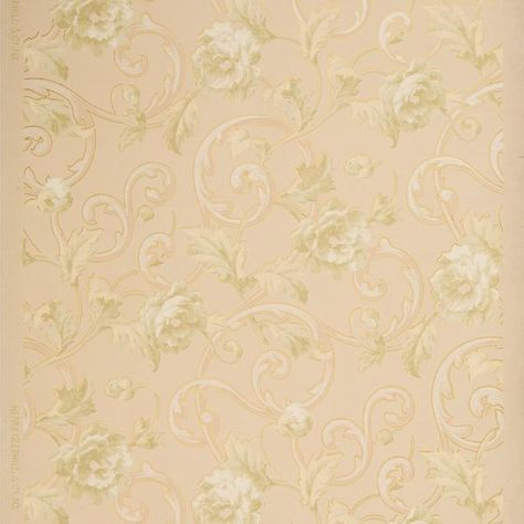 Pale Roses And Foliate Scrolls Antique Wallpaper Remnant