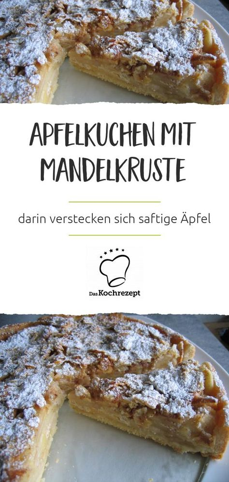 Ciao, Streusel! Dieser Apfelkuchen mit Mandelkruste hat uns umgehauen und er wird auch alle deine Gäste begeistern. Denn unter der knusprigen Kruste verstecken sich saftige Äpfel. So hast du Kuchen noch nie gegessen! #daskochrezept #kruste #knusprig #mandelkruste #apfelkuchen #kuchen #saftig #äpfel