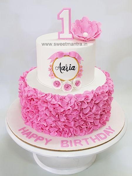 Ruffles Theme 2 Tier Fondant Cake For Girls 1st Birthday In Pune In 2020 Baby Girl Birthday Cake Baby Birthday Cakes Girls First Birthday Cake