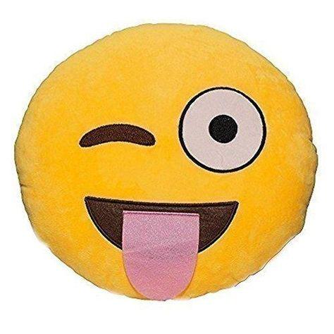Emoji Cuscini.Emoji Smiley Winking Tongue Emoticon Yellow Round Cushion Pillow