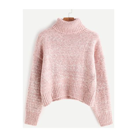 8e3d481e30ca SheIn(sheinside) Turtleneck Drop Shoulder Crop Cable Knit Sweater featuring  polyvore, women's fashion, clothing, tops, sweaters, pink, cable turtleneck  ...