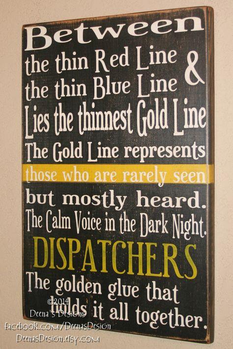 Dispatcher Wall Art, EMS Decor, Distressed Wall Decor, Custom Wood Sign, 911 Dispatcher - Thin Gold Line on Etsy, $48.00