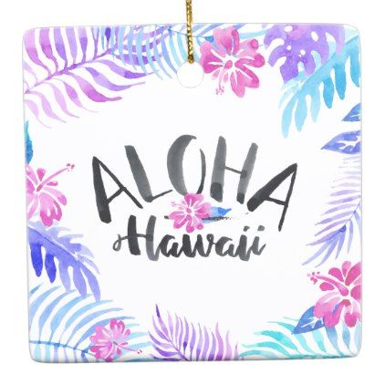 Watercolor Aloha Hawaii Tropical | Ornament - home gifts ideas decor special unique custom individual customized individualized
