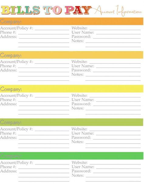 Home Management Binder - Monthly Bills Account Info Binder - bills to pay template