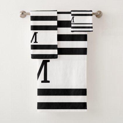 Monogrammed Black And White Striped Bath Towel Set Zazzle Com Black And White Tiles Bathroom Towel Set Bath Towel Sets