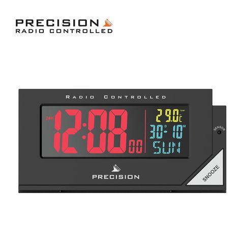 Precision Radio Controlled Colour Display Alarm Clock In 2020 Alarm Clock Digital Radio Radio Control