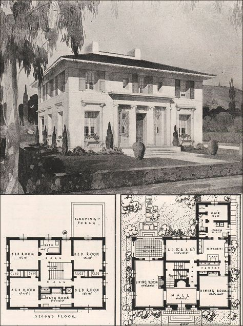 This Was Designed As A Grand House With A Price To Match In 1916 The Estimated Cost To Build Architecture House Vintage House Plans Italian Architecture