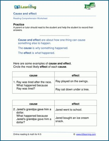 Cause And Effect Worksheets For Grade 1 K5 Learning Cause And Effect Worksheets Cause And Effect Free Reading Comprehension Worksheets