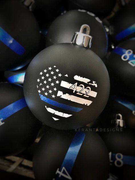 Thin Blue Line Heart American Flag Ornament Law Enforcement Police Officer Sheriff Deputy Trooper  L