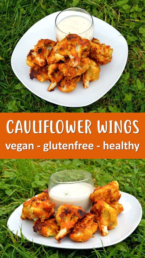 Cauliflower Wings that are vegan, gluten free and healthy. Cauliflower is coated in a chickpea batter then roasted to perfection before being covered in a spicy coating. Served with a raw cashew ranch dip. #vegan #veganrecipe #glutenfree