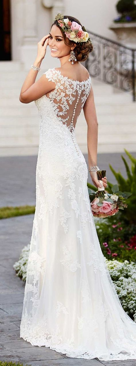 Chandelier earrings is best paired for wedding dresses with lace motif
