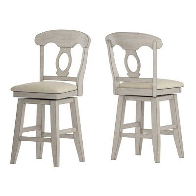 24 South Hill Napoleon Back Swivel Counter Height Chair White