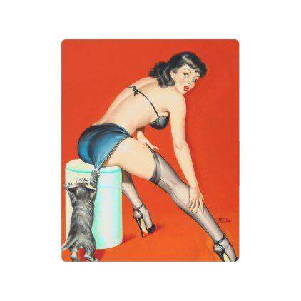 #Posters #Metal #Art - #Playful pussy vintage pinup girl metal print