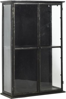 Glass Display Cabinet With Distressed Black Metal Frame