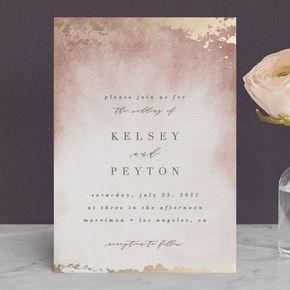 Ethereal Wash  Foil-pressed Wedding Invitations in Ocean by Everett Paper Goods. #weddinginvitation