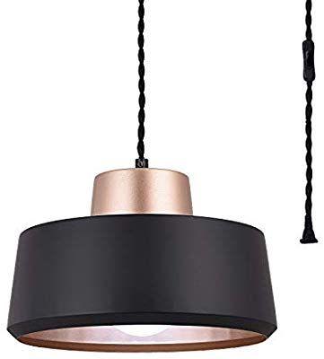 Seeblen Modern Plug In Pendant Lights Black Metal Ceiling Light Fixture Hanging Lights W Plug In Pendant Light Metal Pendant Light Fixture Black Pendant Light