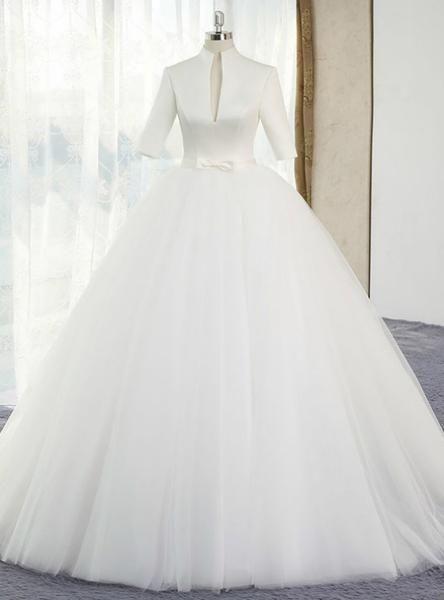 Silhouette Ball Gownhemline Floor Lengthneckline High Neckfabric Satinshown Color Whitesleeve Sty Bow Wedding Dress White Ball Gowns Short Sleeve Wedding Dress