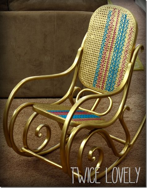 Dorado madera curvada mecedora con cosido cruz palmeta from Twice Lovely