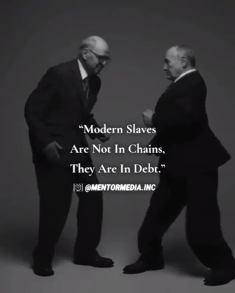 "🤯🤔What do you think?💡""Modern slaves are not chained, they are in debt."" Tag a friend! 👇🏻👇🏻 • 👉🏻Follow 