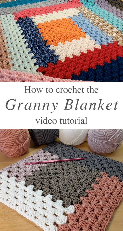 Crochet Granny Pattern Blanket You Will Love This tutorial will walk you through a beautiful crochet granny pattern blanket! This stitch makes the most unique texture of any pattern I have encountered! Granny Square Crochet Pattern, Afghan Crochet Patterns, Crochet Squares, Crochet Throw Pattern, Granny Square Afghan, Crochet Afghans, Free Easy Crochet Patterns, Baby Boy Knitting Patterns Free, Easy Blanket Knitting Patterns