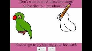 Parrot drawing for kids