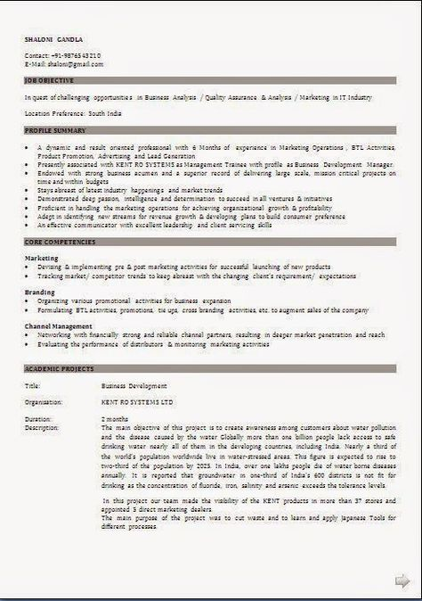 ecrire un cv Sample Template Example ofExcellent Curriculum Vitae - water manager sample resume