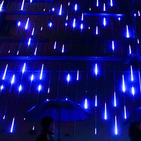 Blue Aesthetic Dark, Aesthetic Colors, Outdoor Garden Lighting, Indoor Outdoor, Rustic Outdoor, Photo Bleu, Shower Lighting, Rain Garden, Meteor Shower