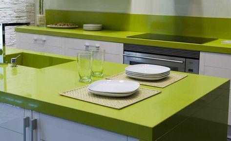 Green Color Of Quartz Countertops